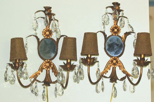 Pair 2 lights gilded metal Sconces with gold beads shades