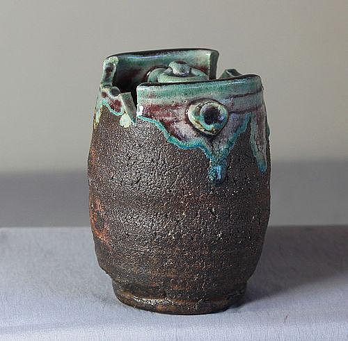 Japanese Stoneware Hanging Ikebana Flower Vase