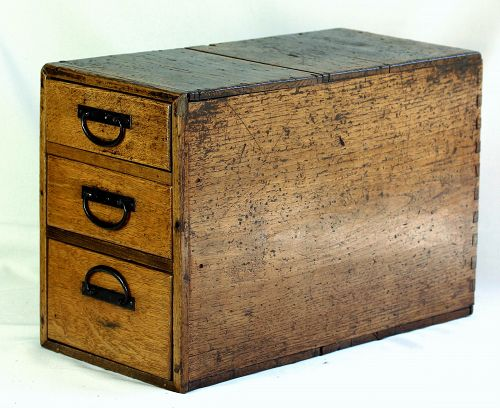 Japanese wooden Merchant Box with 3 drawers