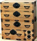 Japanese Tansu, 2 section Kiri & Cedar chest, Black Iron Hardware