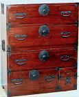 Japanese Tansu, 2 section mixed wood with black iron Hardware