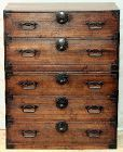 Japanese Tansu, 2 section Kiri wood & Black Iron 4 season design