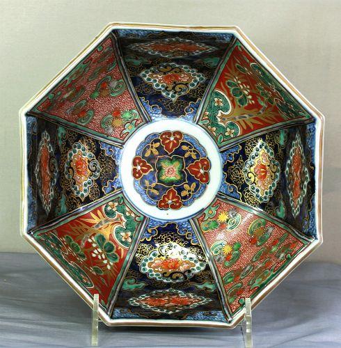 Japanese Imari Porcelain Bowl, Octagonal shape