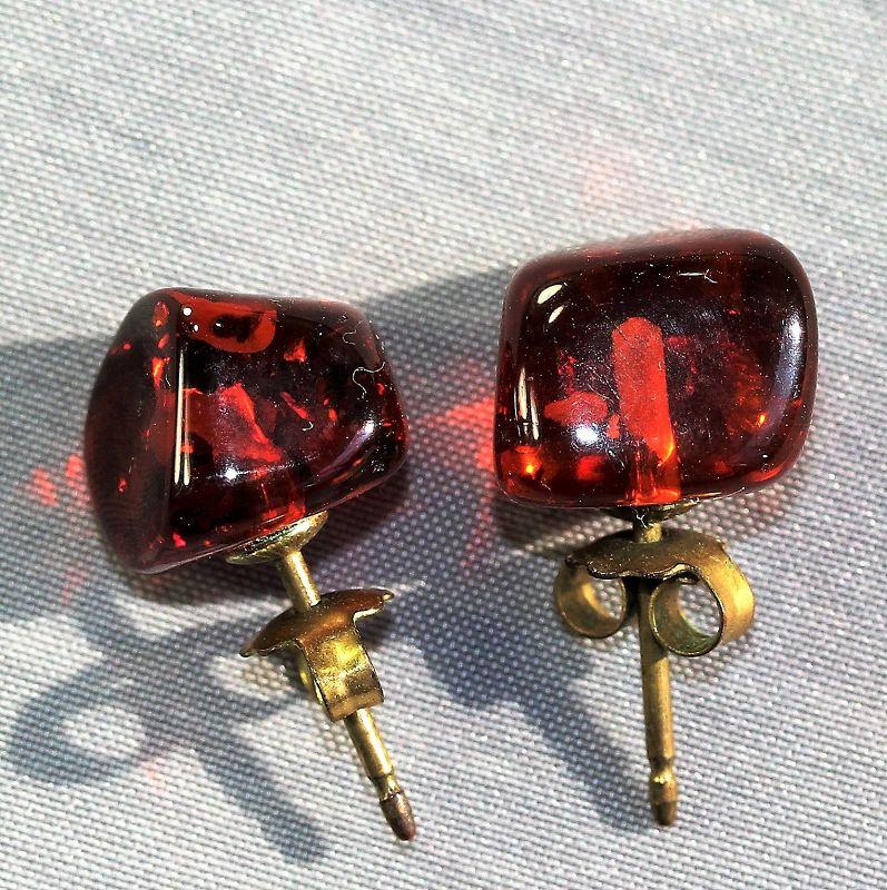 Amber Earrings, gilded silver mount