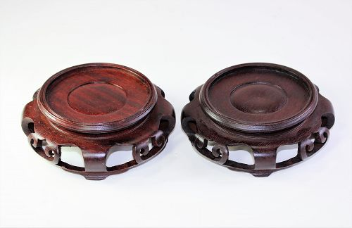 Two(2) Chinese Hardwood round brown Display Stands