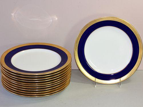 12 English Mintons Porcelain Dinner Plates, Cobalt Blue & Gold, g6262