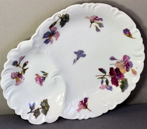 French Limoges Porcelain Serving Dish, Pansy flower