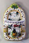 Portuguese hand painted Ceramic Bird Soap dish & Towel Hanger
