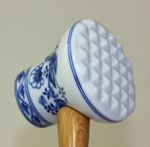 Blue Onion design Porcelain Meat Tenderizer, Meat Mallet