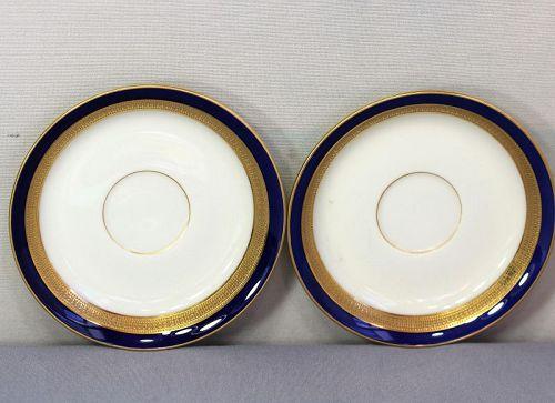 Two(2) Lenox Porcelain Saucers, green mark cobalt blue & gold rim