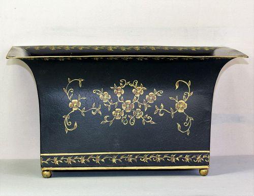 Tole Cache pot, Planter with gold floral design on black