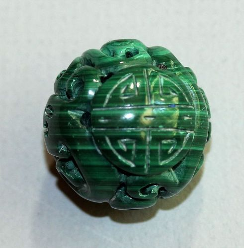 "Malachite carved large bead, Chinese Character ""Shou"""