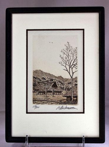 """""""Norikane Hiroto"""" Japanese Etching in Frame, 119/500"""