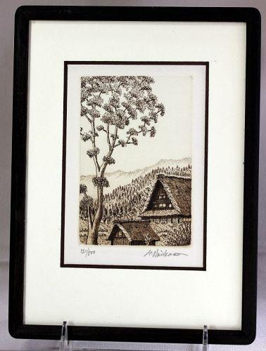 """""""Norikane Hiroto"""" etching """"Shiragawako"""" 121/500"""