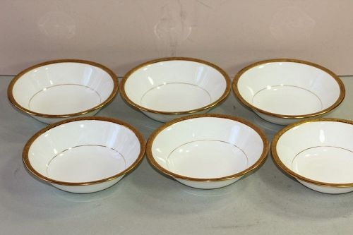 6 English Mintons Porcelain Gold Rim Fruit or Dessert Bowls