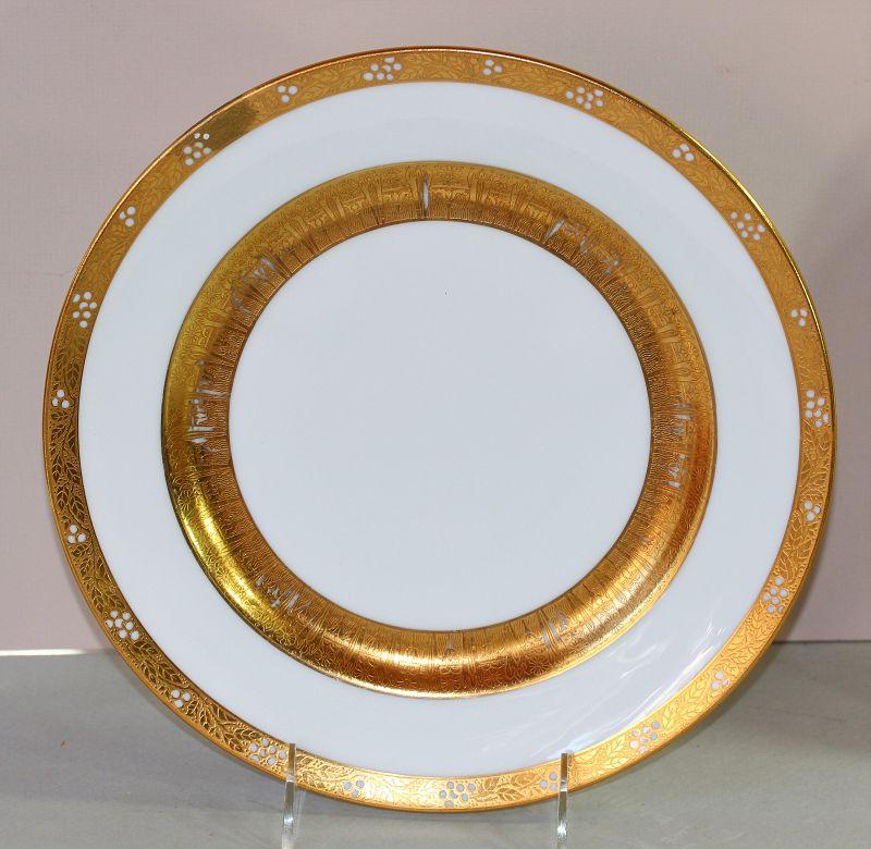 12 Lenox Porcelain Gold encrusted wide Rim Plates, Tiffany & Co.
