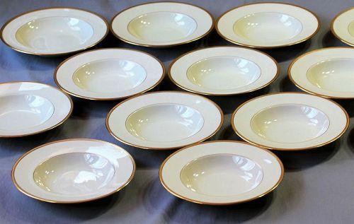 12 Lenox Porcelain Gold Rim Soup Plates, 2024/S62