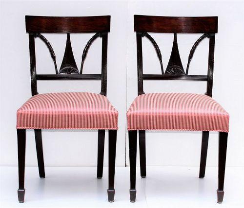 Pr. English Regency Mahogany Side Chairs, Feather back Splat