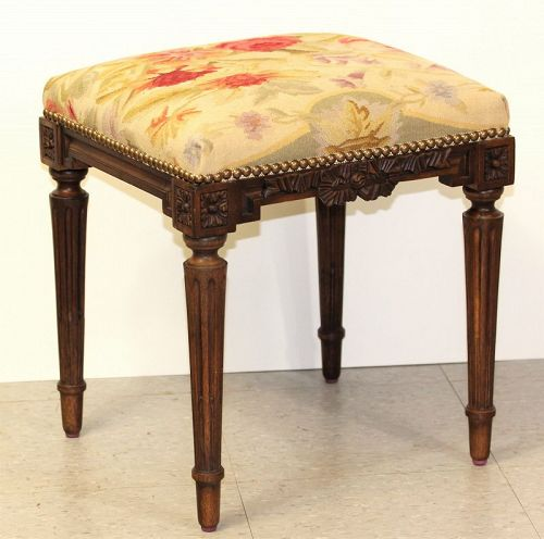Aubusson Wool Wooden Stool, hand woven Floral design