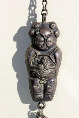 Chinese Silver smiling Boy figure & 2 embossed Bell Tassel