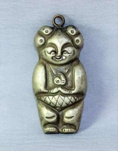 Chinese Silver laughing Boy Bell Pendant, holding Peach