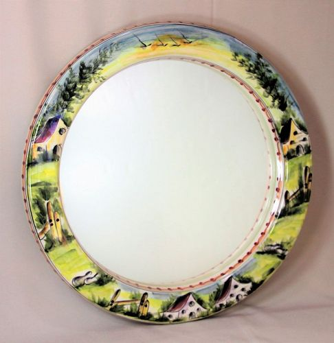 Portuguese round hand painted Ceramic Mirror, house, bird design