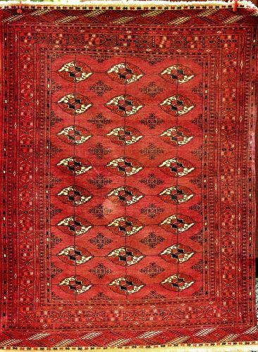 Tekke Bokhara Wool Rug, tiny knots flat hand woven