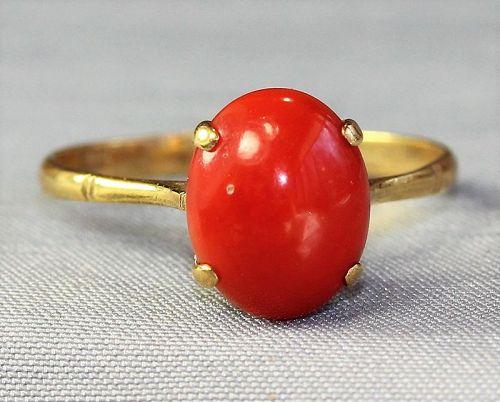 Natural Coral Cabochon & 14K Gold Ring