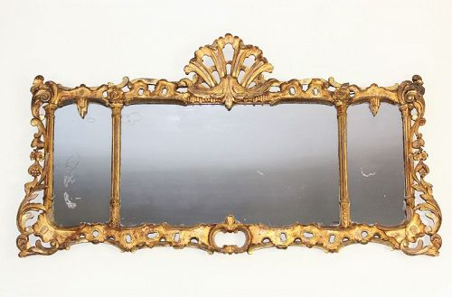 English Queen Anne Gilt on carved wood over Mantle Mirror, 18th C.