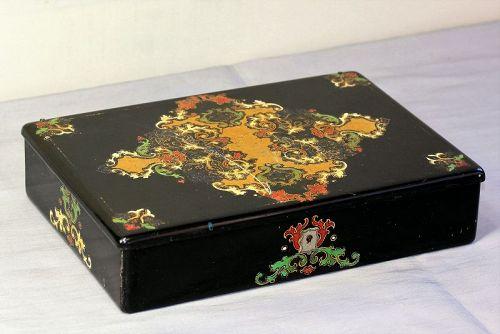English Victorian Lacquered Papier Mache Game Box