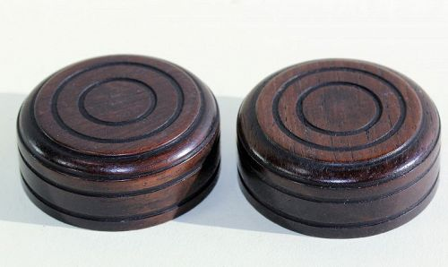 2 Chinese carved Wood round Cover for Tea Caddy, Tea Jar Top