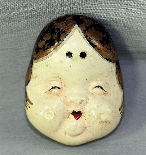 Japanese No Mask Okame Ceramic Netsuke