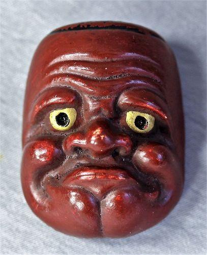Japanese Ceramic No Mask Obeshimi Netsuke, Meiji Period