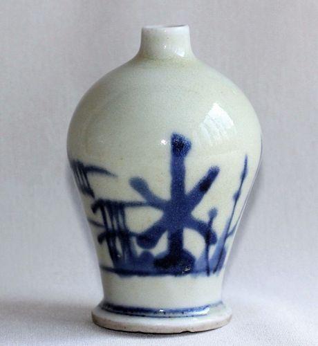 Japanese Seto Earthenware Blue & White Sake Bottle, Tokkuri