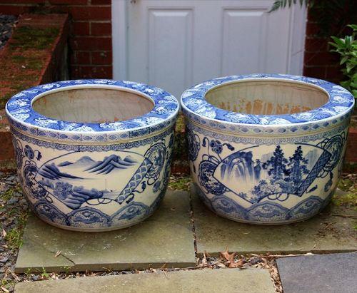 Pr. Japanese Porcelain Blue & White large Hibachis
