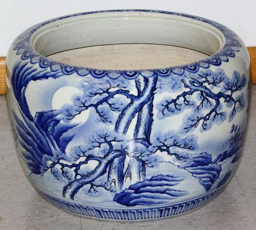 Japanese Porcelain Blue & White large Hibachi with handle