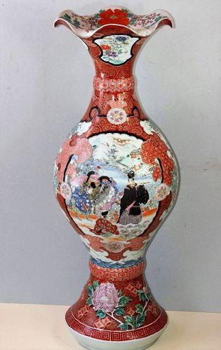 Japanese Arita Porcelain Trumpet shape large Urn, Vase, 19th C.