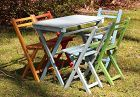 5 Painted Folding Wooden Chairs & one(1) Table, Cafe style, total 6
