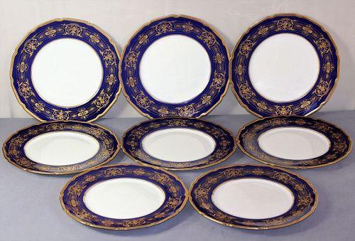 8 English Royal Doulton Porcelain Dinner Plate, Gold on Cobalt Blue