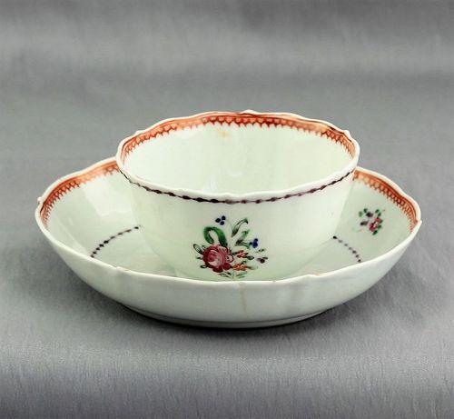 Chinese Export Famille Rose Porcelain Tea Bowl & Saucer