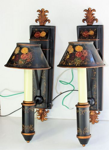 Pr. Black Tole Wall Sconces, hand painted Floral design