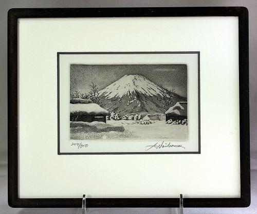 """Norikame Hiroto"" Mt. Fuji in Snow Etching in frame, ""204-500"""