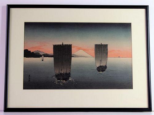 Japanese Eisen Wood Block Print, Mt Fuji & Fishing Boats