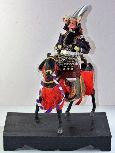 Japanese Samurai Warrior on Noma UMA Black Horse Doll