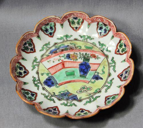 18th C. Chinese Kangxi period Famille Verte Porcelain Deep Dish