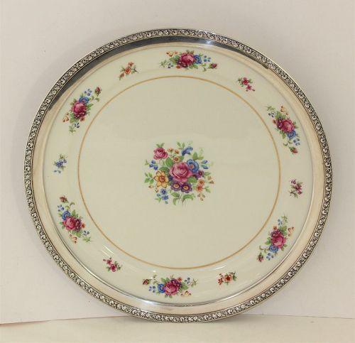 Lenox Porcelain Rose Design & Sterling Rim large Charger Platter