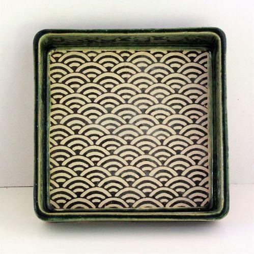 Japanese Oribe Ceramic Square Deep Dish, Tea Ceremony Serving Dish