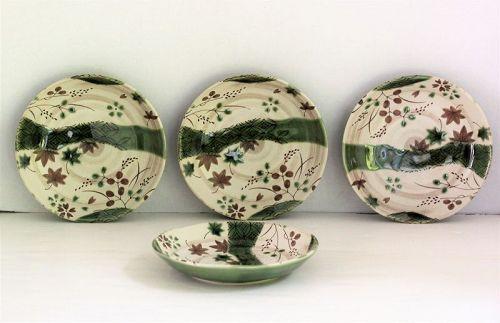 4 Japanese Oribe ceramic Tea Plates, Maple over the Stream