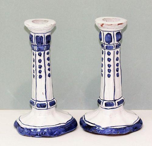 Pair Portuguese Ceramic Candlesticks, Blue & White, hand painted
