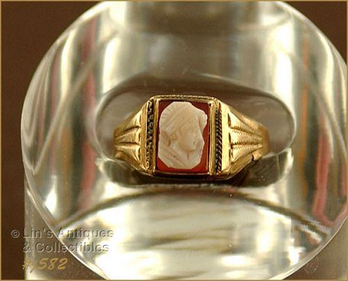 Vintage 10k Rose Gold Cameo Ring